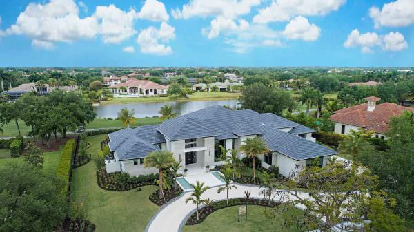 An aerial view of the Laurène , Diamond Custom Homes' latest estate model in Quail West Golf & Country Club.