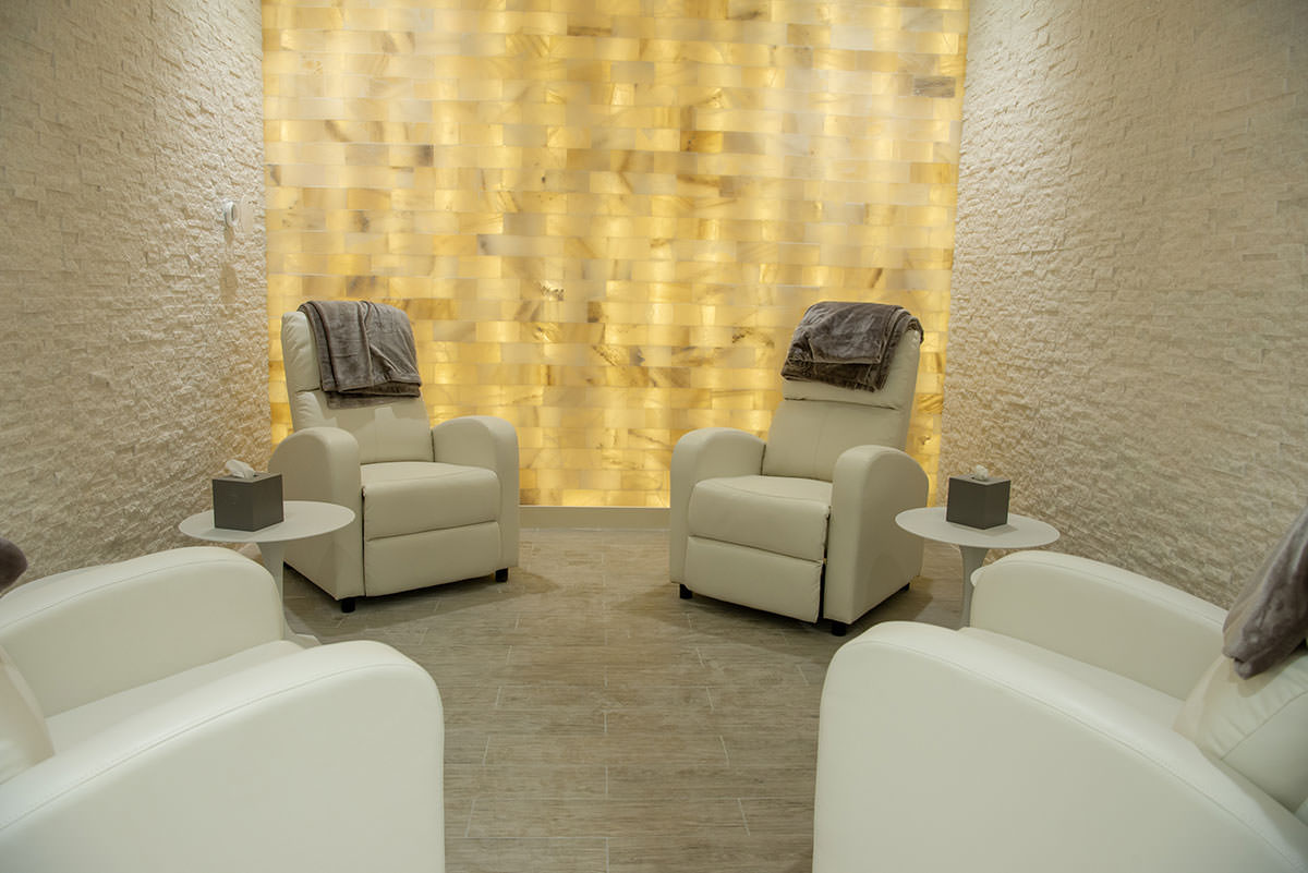 The halotherapy salt room in the new Wellness Center and Spa at Vineyards Country Club.
