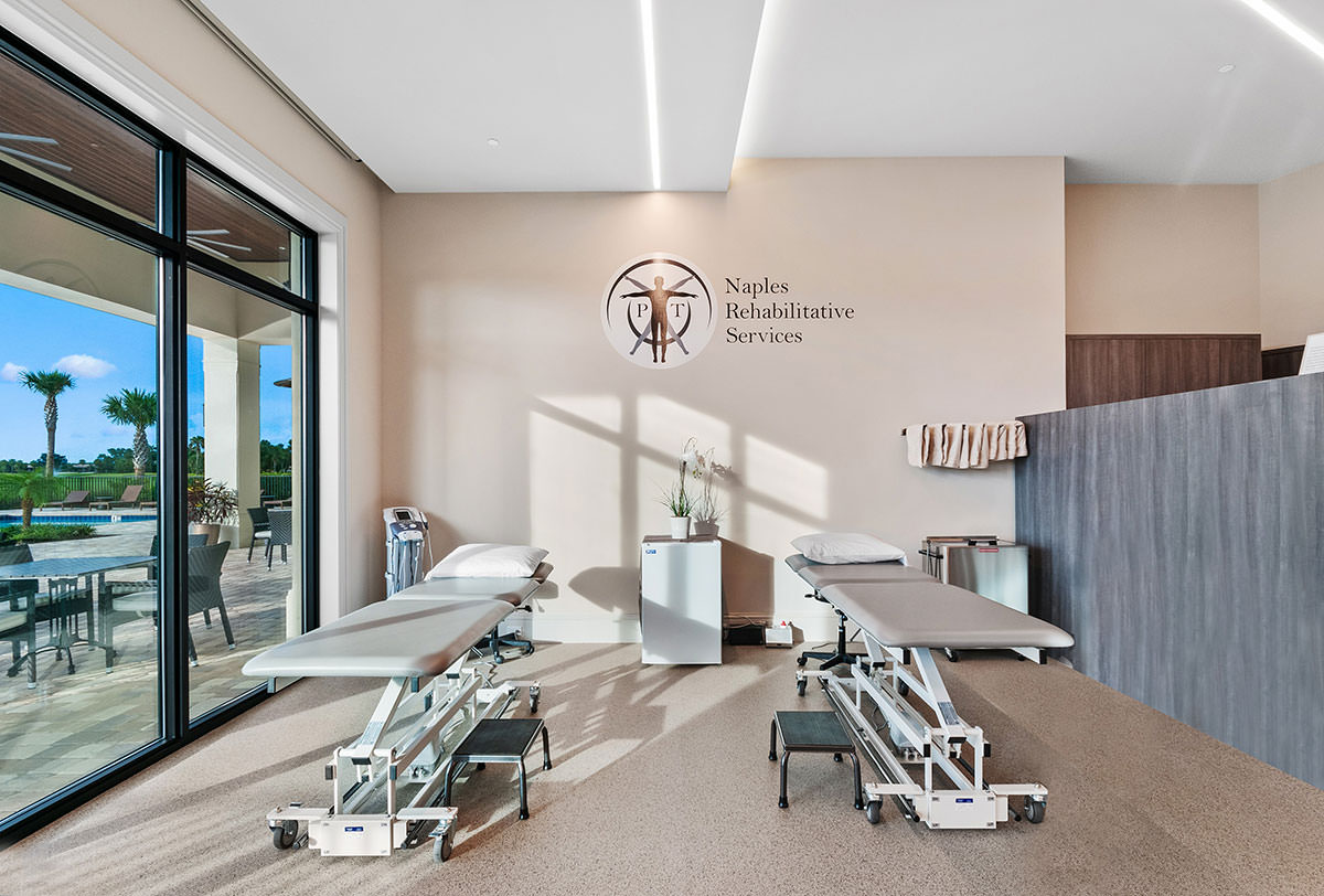 Vineyards Country Club's fitness programming is highlighted by a physical therapy department provided by Naples Rehabilitative Services.